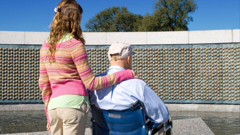 Grandfather Granddaughter Wheelchair World War II Memorial Stars Washington DC