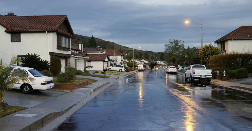 A neighborhood in the upscale community of Porter Ranch, where many residents have moved out because of a natural gas leak from a nearby Southern California Gas Co. storage facility.