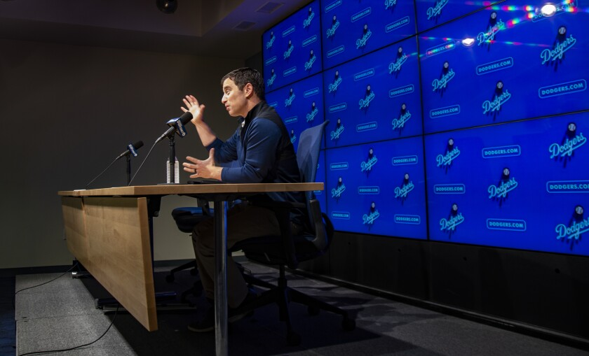 Dodgers president of baseball operations Andrew Friedman speaks during a news conference at Dodger Stadium on Oct. 14
