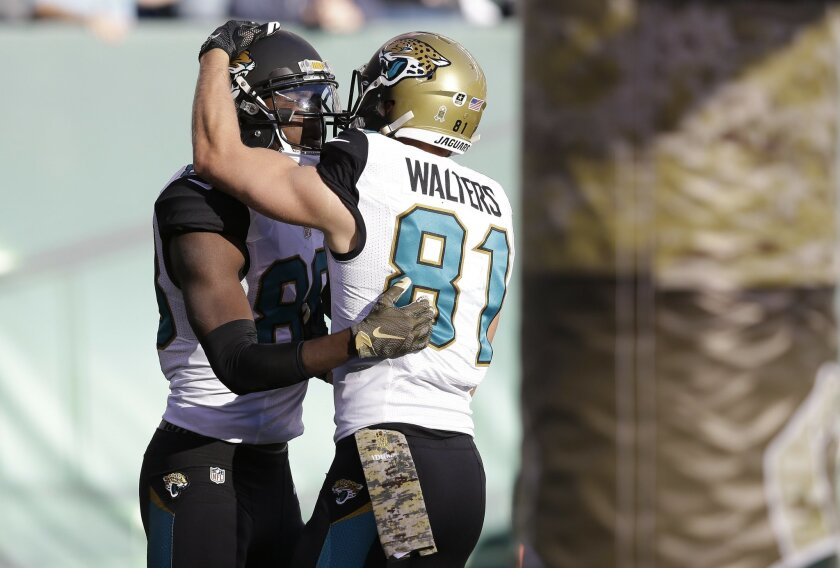 Jacksonville Jaguars wide receiver Allen Hurns (88) celebrates with wide receiver Bryan Walters (81) after scoring a touchdown against the New York Jets during the first quarter of an NFL football game, Sunday, Nov. 8, 2015, in East Rutherford, N.J. (AP Photo/Seth Wenig)