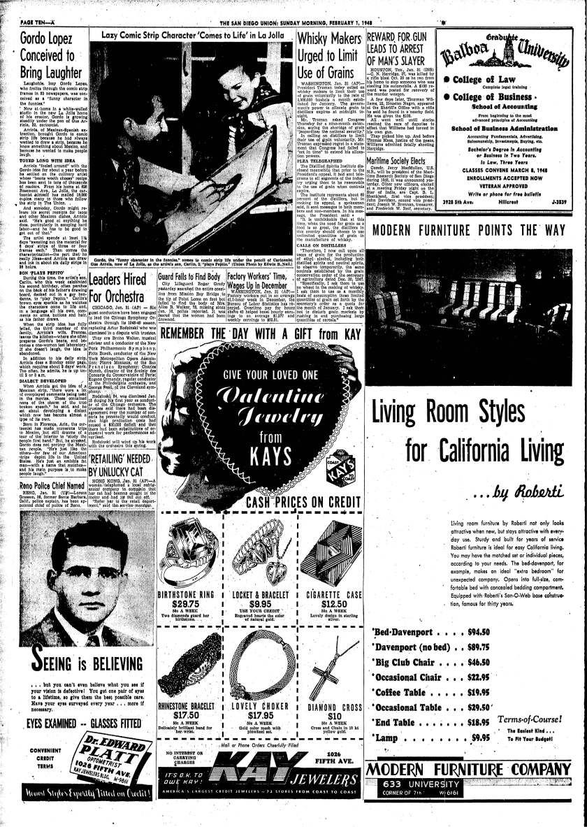 February 1, 1948 Union newspaper headline