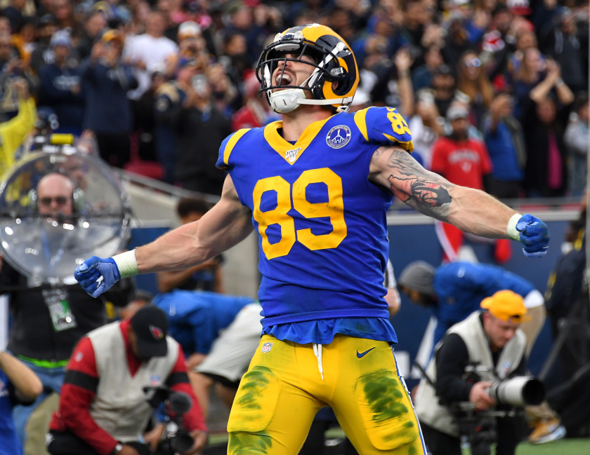 Rams tight end Tyler Higbee celebrates after catching a touchdown pass.