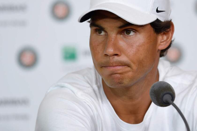 Rafael Nadal announces his withdrawal from the French Open at the Roland Garros on Friday.