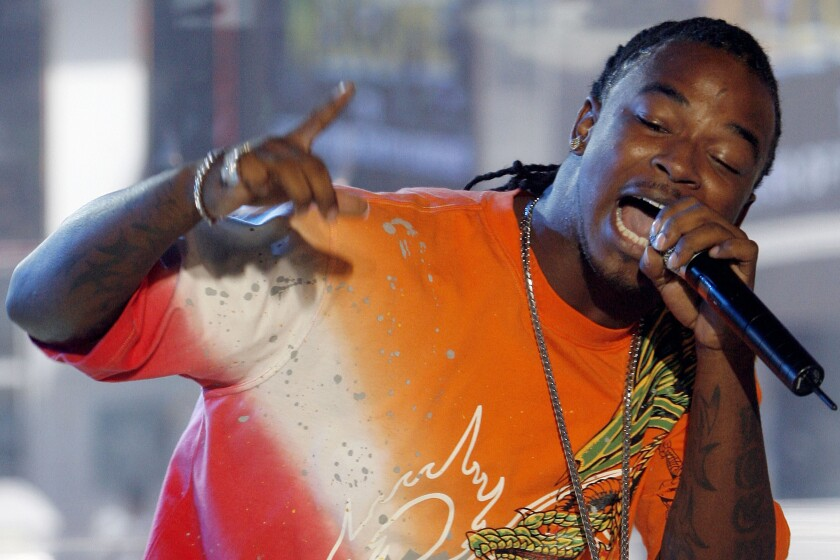 """St. Louis rapper Huey (Lawrence Franks Jr.) performs in 2007 at MTV's """"Total Request Live"""" in New York."""