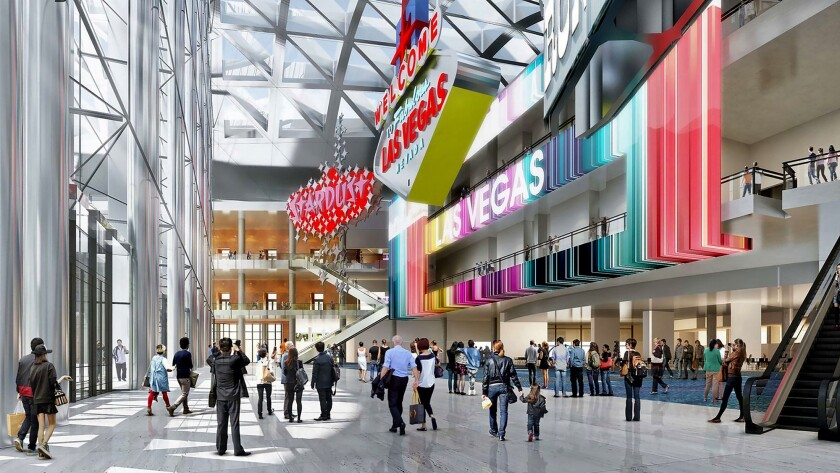 A design rendering of the expansion of the Las Vegas Convention Center, which will add 600,000 square feet of exhibit space. Las Vegas is competing with Los Angeles and other cities for the nation's biggest and most profitable conventions and meetings.
