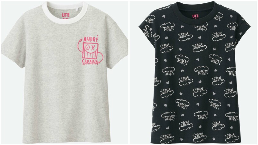 A look at André Saraiva x Uniqlo limited-edition T-shirts, $14.90 and $9.90.