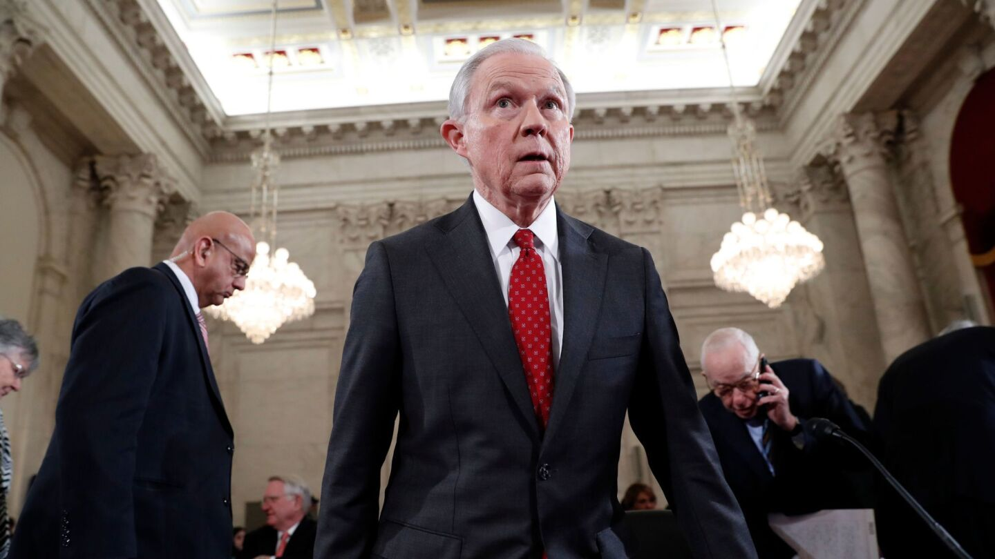 Sen. Jeff Sessions, President Trump's pick for attorney general, at his confirmation hearing in January.