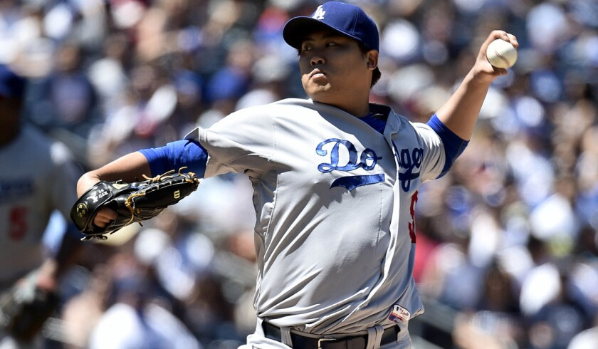 Dodgers starting pitcher Hyun-Jin Ryu came off the disabled list Sunday and pitched seven innings against the Padres, limiting them to one run and four hits.