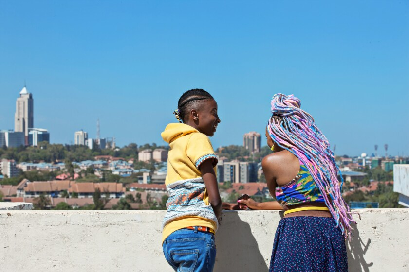 (L-R)- Kena (Samantha Mugatsia) and Ziki (Sheila Munyiva) star in RAFIKI. Credit: Film Movement