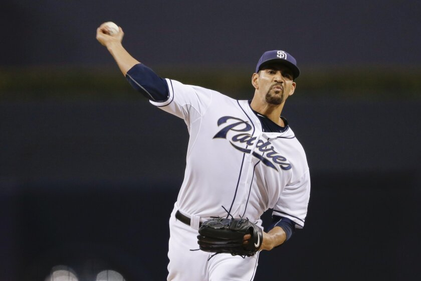 San Diego Padres starting pitcher Tyson Ross works against a San Francisco Giants batter during the first inning of a baseball game Tuesday, Sept. 22, 2015, in San Diego. (AP Photo/Gregory Bull)