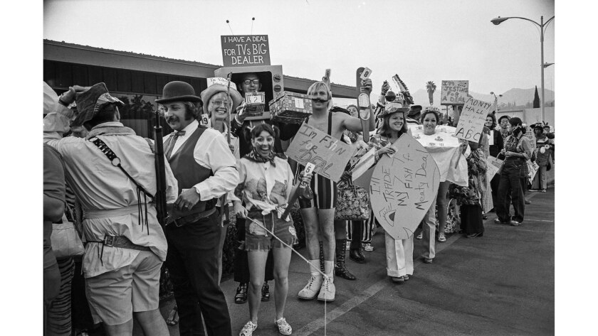 """Aug. 1, 1973: Possible contestants line up before taping of """"Let's Make a Deal."""""""
