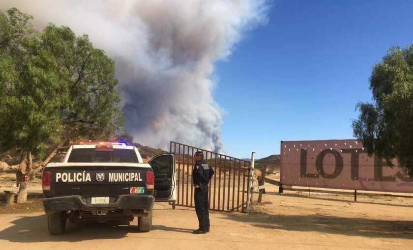 A large brush burned south of Rosarito, near the Valle de Guadalupe, on Thursday, Oct. 24, 2019.