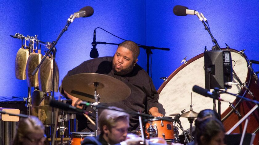 OJAI, CALIF. -- THURSDAY, JUNE 8, 2017: Tyshawn Sorey on drums during Vijay Iyer's 'Emergence' at t