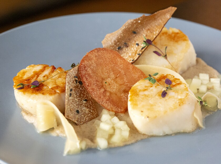 Pan-seared scallops with chai-spiced apple purée, compressed apple, pickled ginger and scallop tuile from the Bronze Quail