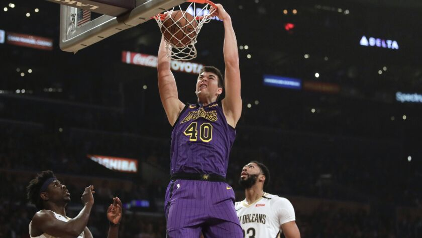 buy online 016b7 dbe5e Lakers center Ivica Zubac makes most of start in place of ...