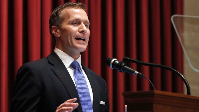 Missouri Gov. Eric Greitens delivers the annual State of the State address to a joint session of the House and Senate in Jefferson City on Jan. 10, 2018.