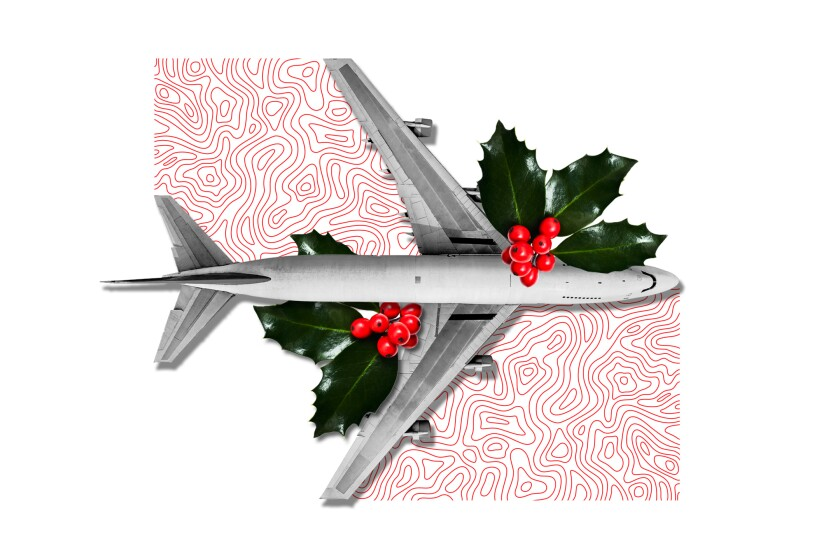 Illustration of a plane and mistletoe