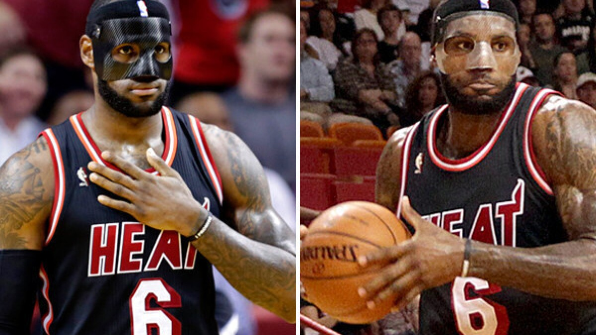 Lebron James Swaps Black Mask For Clear One At Request Of Nba Los Angeles Times