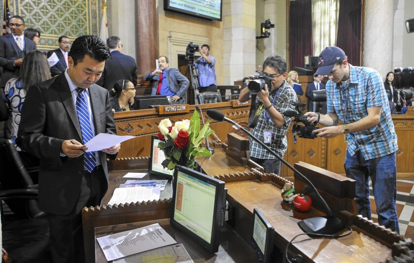"""L.A. City Councilman David Ryu, left, entered politics in 2003 as a deputy to L.A. County Supervisor Yvonne Burke. """"It was just inevitable that elected officials wanted to build that bridge, and they hired deputies that looked like those communities,"""" he said."""