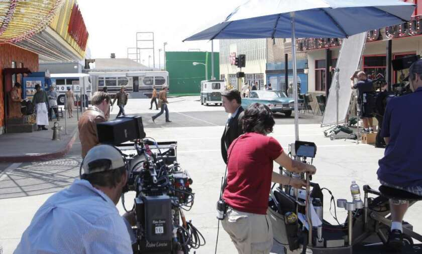 """Eight of the nine films nominated for this year's best picture Oscar were shot outside California. Above, a crew is seen in 2012 shooting a scene in Santa Clarita for the since-canceled CBS show """"Vegas."""""""