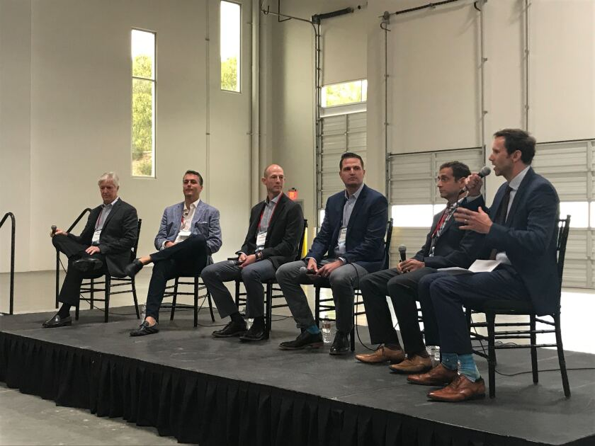 Panelists at the Bisnow: State of the Market event in Carlsbad. Left to right: Greg Williams, Stockdale Capital Partners; Brad Termini, Zephyr Partners; Paul Kaseburg, MG Properties; John Kenney, The Casey Brown Co; Seth Grossman, Meridian Capital; and Nathan Moeder of London Moeder Advisors.
