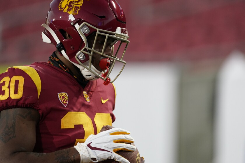 USC running back Markese Stepp warms up before the Pac-12 championship game against Oregon on Dec 18.
