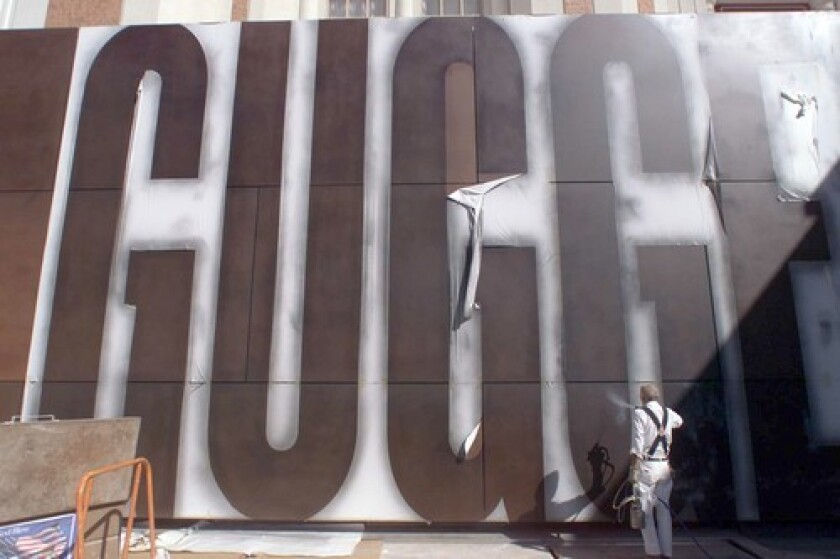 """NOW, IT'S GOOD-BYE: Upon arrival, """"Guggenheim"""" was spray-painted in huge letters at the front of the Guggenheim Hermitage Museum at the entrance to the Venetian Hotel in Las Vegas."""