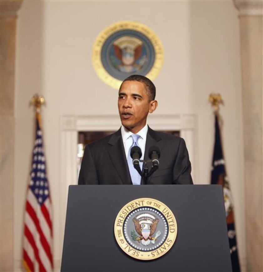 President Barack Obama speaks in the Grand Foyer of the White House in Washington, Tuesday, Jan. 5, 2010, about plans to thwart future terrorist attacks after an alleged terrorist attempt to destroy a Detroit-bound U.S. airliner on Christmas Day. (AP Photo/Gerald Herbert)