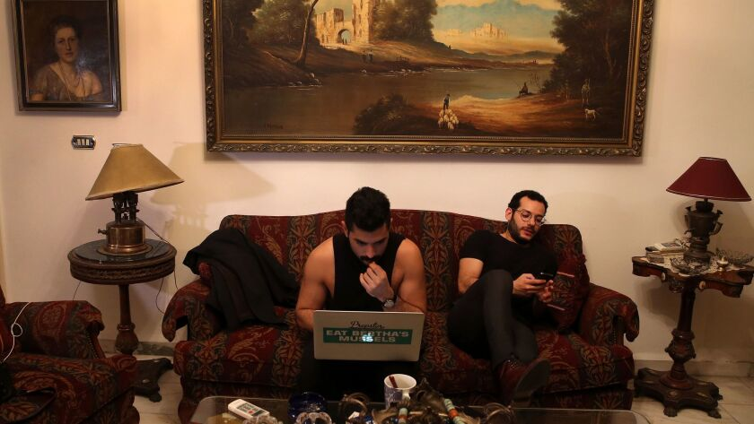 Hamed Sinno, left, lead singer with the Lebanese rock band Mashrou' Leila, and guitarist Firas Abou Fakher in Beirut in April 2016.