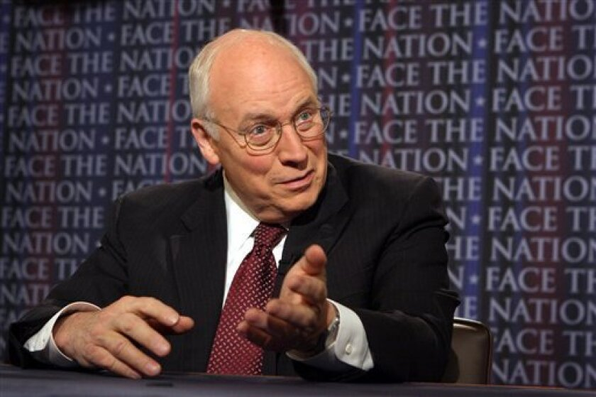 "This photo provided by CBS shows former Vice President Dick Cheney appearing on the CBS news show ""Face the Nation,"" Sunday May 10, 2009, in Washington. (AP Photo/CBS, Karin Cooper)"