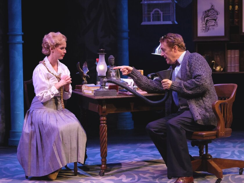 Allison Spratt Pearce as Eliza Doolittle and Sean Murray as Henry Higgins iron out some differences in 'My Fair Lady' at Cygnet Theatre.