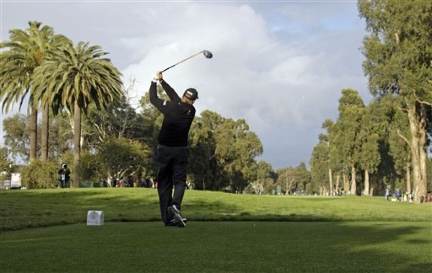 Steve Stricker tees off on the 11th hole during the third round of the Northern Trust Open golf tournament at Riviera Country Club in the Pacific Palisades area of Los Angeles on Saturday, Feb. 6, 2010. AP Photo/Reed Saxon)