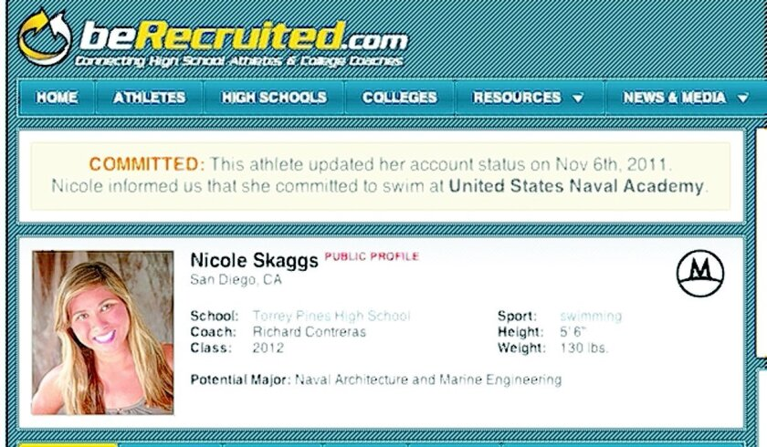"""Torrey Pines swimmer Nicole Skaggs changed her status to """"committed"""" once she received her appointment from the Naval Academy."""