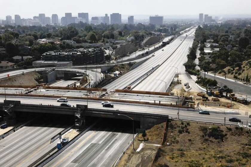 The 405 Freeway at Sunset Boulevard is shown. UCLA researchers say that last year's Carmageddon closure of the 405 rid Los Angeles of both traffic and another notorious problem: pollution.