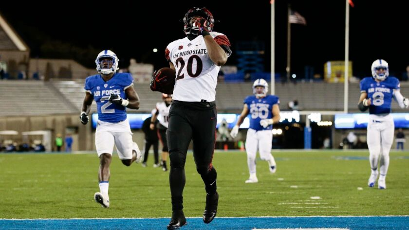 San Diego State running back Rashaad Penny rushes for one of his three TDs in last year's SDSU victory over Air Force in Colorado Springs, Colo.