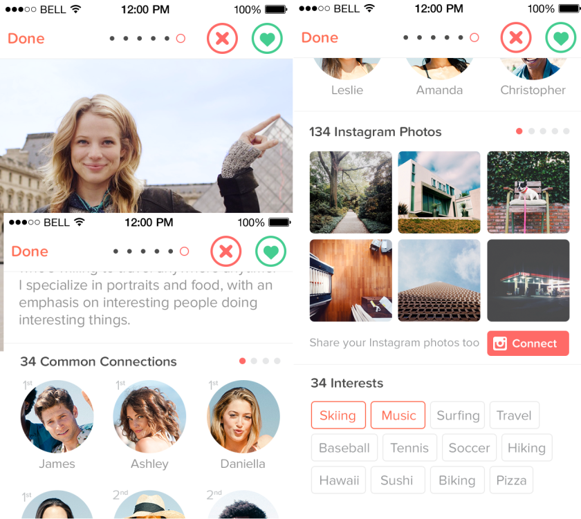 An update to Tinder arriving Wednesday will show second-degree connections, more interests and Instagram photos on profile pages.