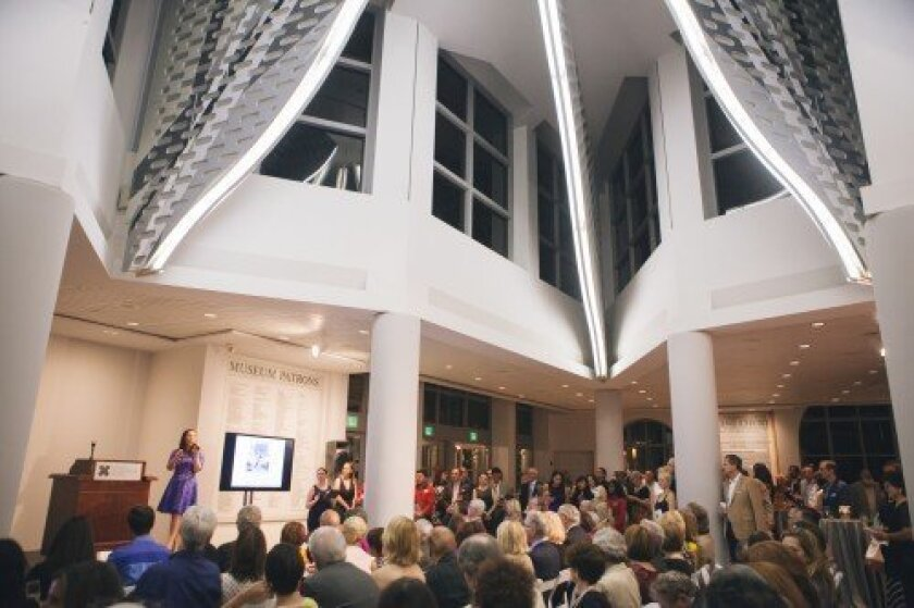Bidding begins at Museum of Contemporary Art San Diego's 2014 Biennial Art Auction under the guidance of auctioneer Mariana Gantus Joseph of Christie's.  Stacy Keck
