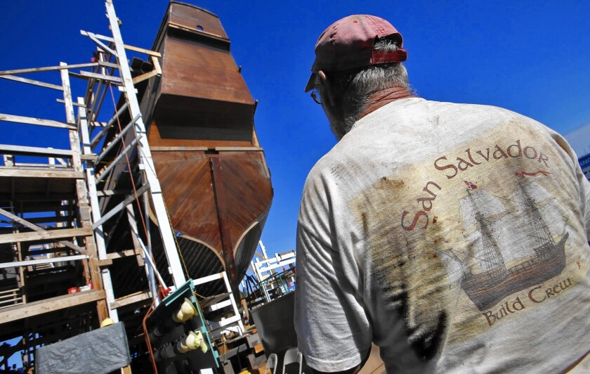 Shipwright Jeff Saar is among those who worked on a full-size replica of Juan Rodriguez Cabrillo's ship, the San Salvador, in San Diego.