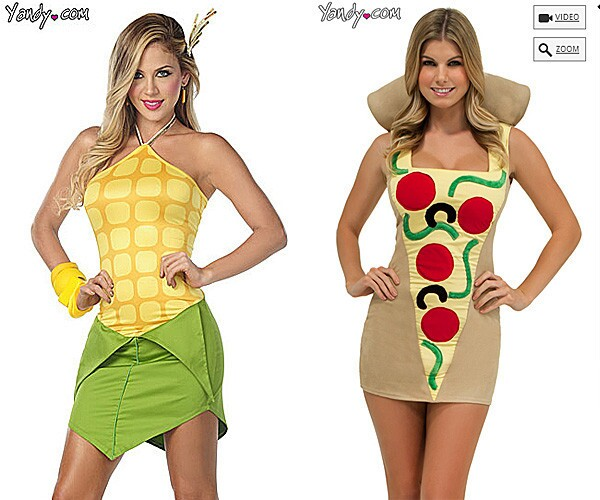 The sexy corn and sexy pizza costumes are available at Yandy.com. But not all food costumes are short and tight, as you can see in this Halloween photo gallery: