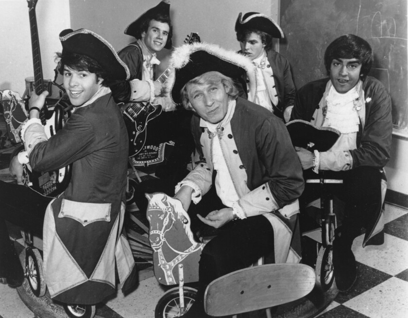 Paul Revere, front, and the Raiders are seen in character in 1967. Paul Revere, born Paul Revere Dick, the organist and leader of the Raiders rock band, died Oct. 4 at his home in Idaho, says Revere's manager Roger Hart. He was 76.