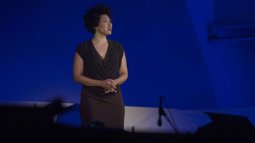 LOS ANGELES, CA - JULY 14, 2016: Soprano Julia Bullock, on stage during the operatic production of â