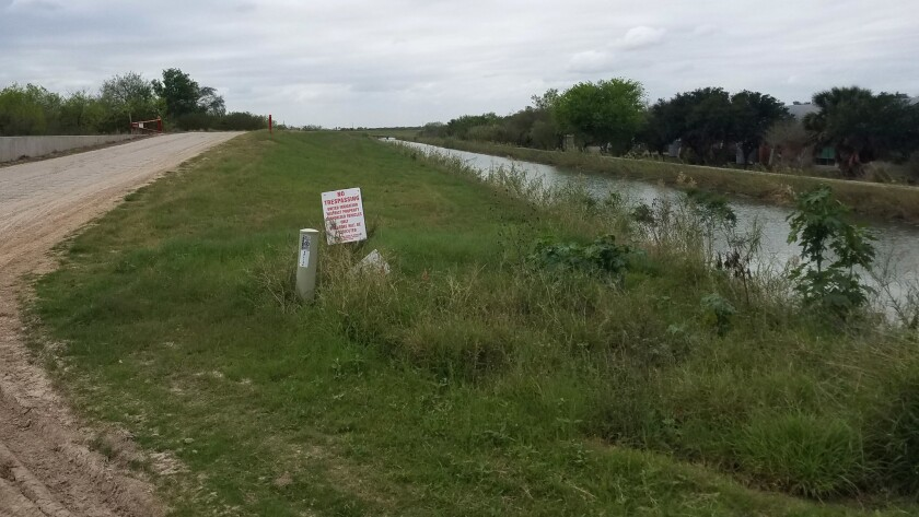 The entrance to a levee next to Bentsen State Park where Border Patrol contractors have been clearin