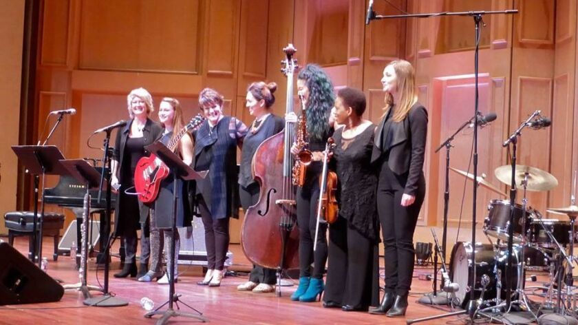 "Saturday's ""Women in Jazz"" performers (from left): Dena DeRose, Serena Geroe, Holly Hofmann, Katie Thiroux, Grace Kelly, Regina Carter and Tina Raymond"