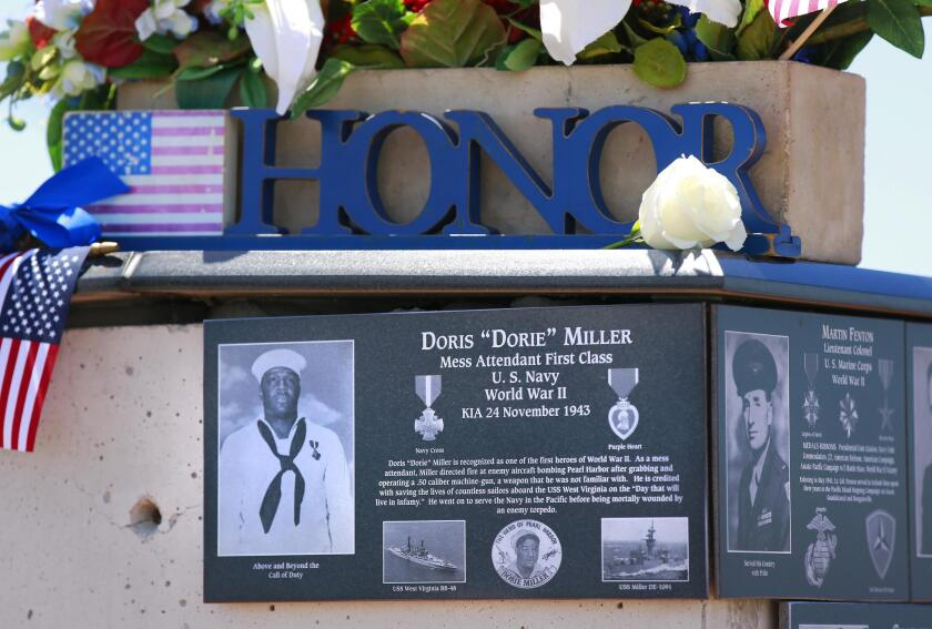 Doris 'Dorie' Miller, a Navy Mess Attendant, was honored during the Memorial Day ceremony May 27 at Mount Soledad National Veterans Memorial in La Jolla. He was the first African-American awarded the Navy Cross.