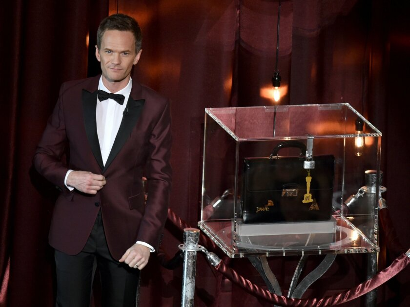 Host Neil Patrick Harris speaks on stage at the Oscars on Sunday, Feb. 22, 2015, at the Dolby Theatre in Los Angeles. (Photo by John Shearer/Invision/AP)
