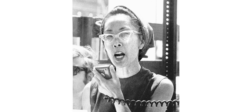 Yuri Kochiyama speaks at an anti-war demonstration in New York City's Central Park circa 1968.
