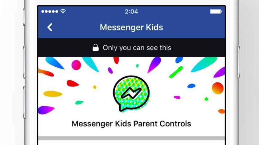 FILE - This file photo provided by Facebook demonstrates parental controls on Facebook's new Messeng