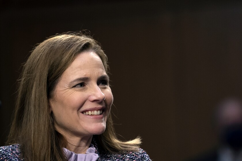 Supreme Court nominee Amy Coney Barrett testifies during the third day of her confirmation hearings before the Senate Judiciary Committee on Capitol Hill in Washington, Wednesday, Oct. 14, 2020. (Stefani Reynolds/Pool via AP)