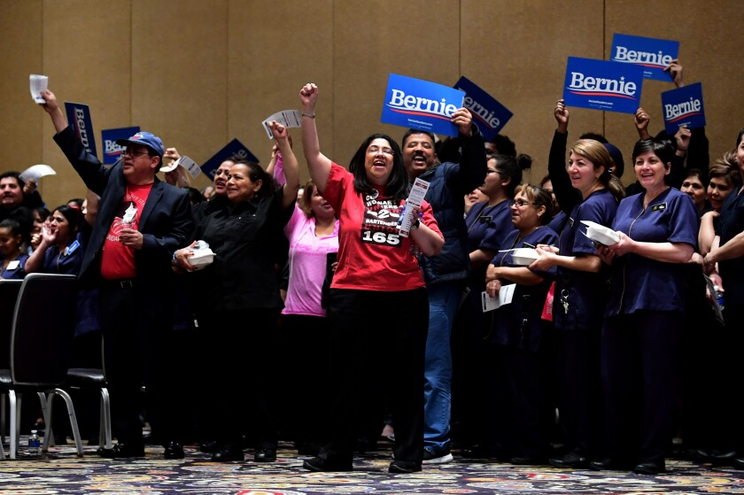 Bellagio hotel workers before casting their votes during the Nevada caucuses
