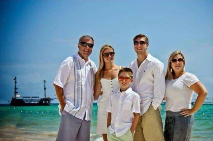 This photo provided by Jess Davis shows the Copeland family, from left, Sean, Maegan, Brodie, Austin and Kim. Davis, a family friend, said Sean Copeland and his son Brodie were killed Thursday, July 14, 2016 when a Frenchman of Tunisian descent drove a truck through crowds celebrating Bastille Day